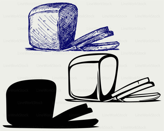 Bread clipart silhouette. Svg food bakery cricut