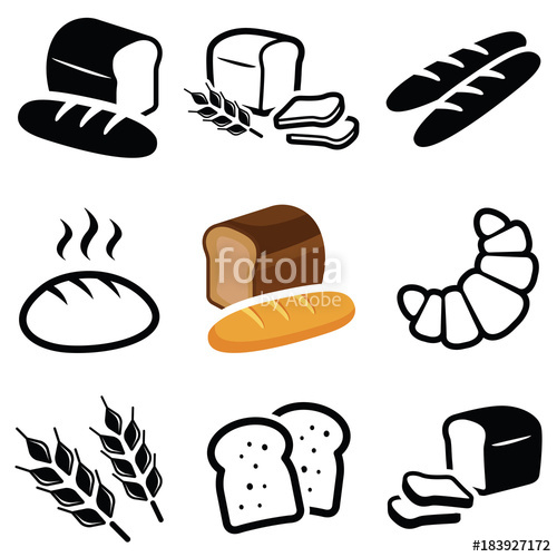 Bread clipart silhouette. Icon collection vector outline