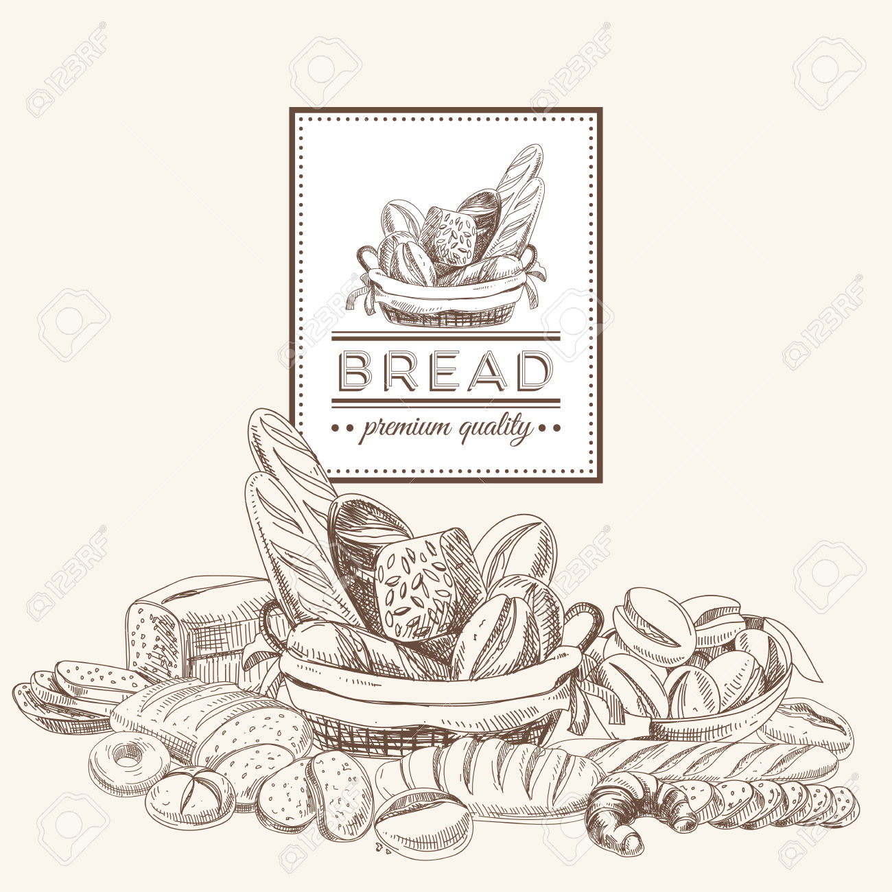 Vintage pencil and in. Bread clipart vector