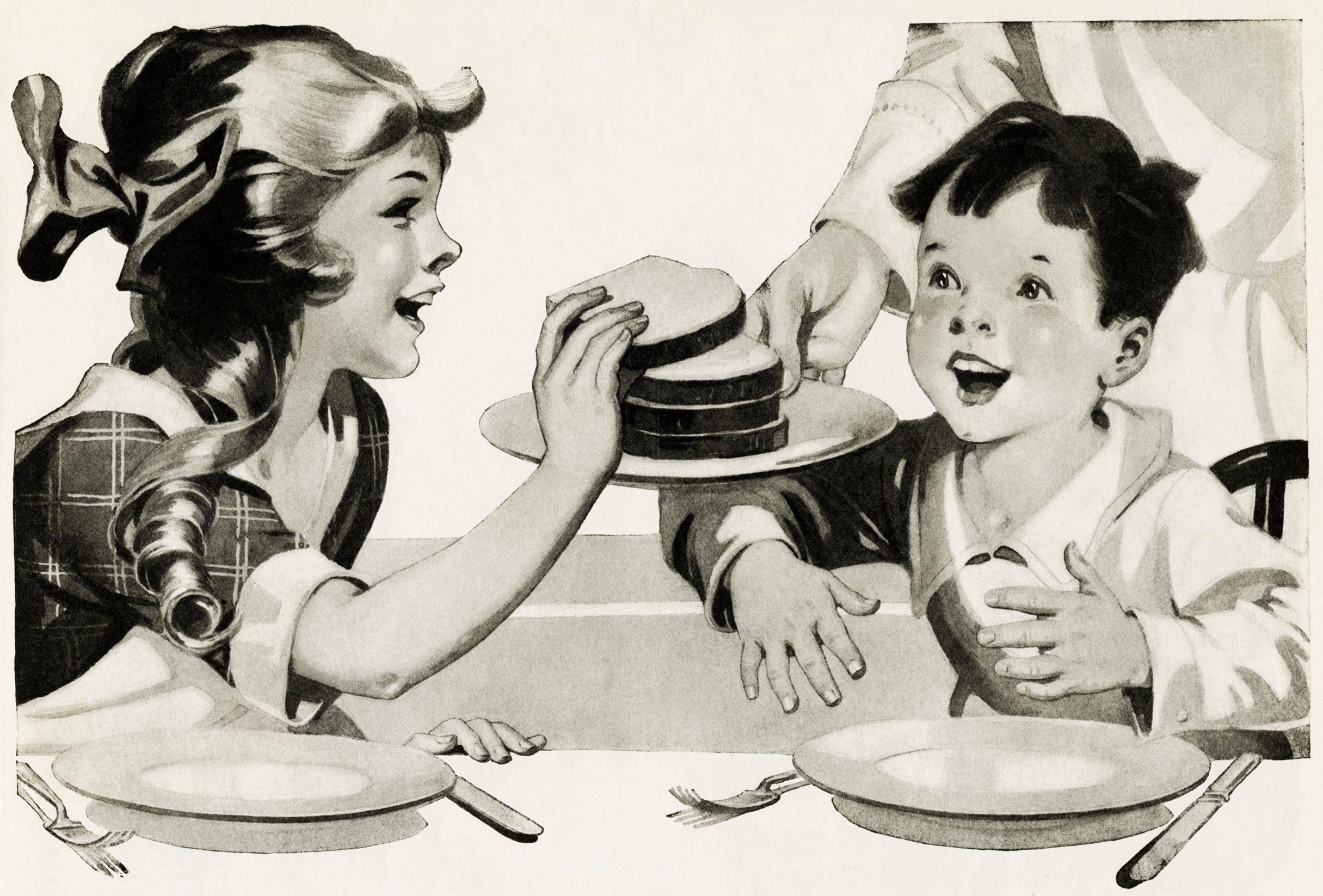 Bread clipart vintage. Children eating clip art