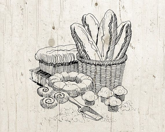 Bread clipart vintage. Baking kitchen graphic baked