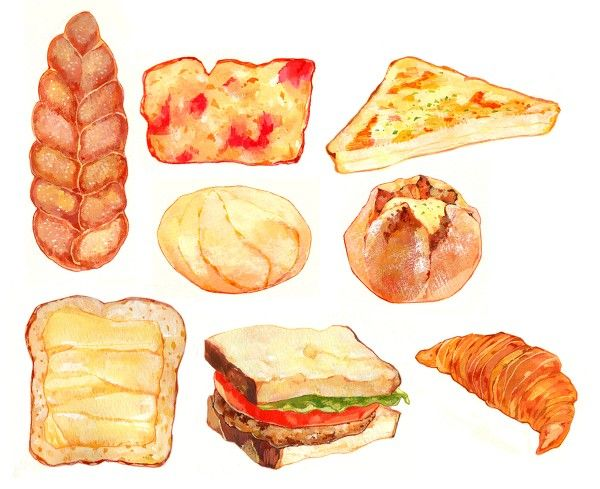 Bread clipart watercolor.  best toast crackers