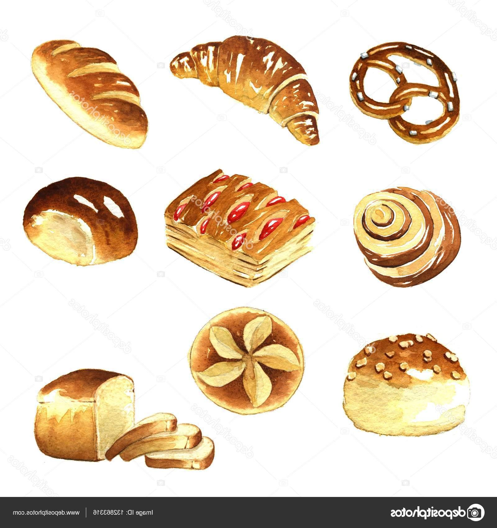 Best free stock photo. Bread clipart watercolor