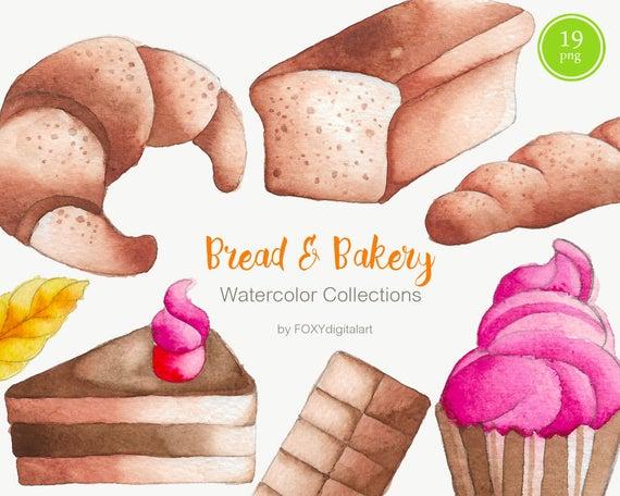 Bakery graphics baguette croissant. Bread clipart watercolor