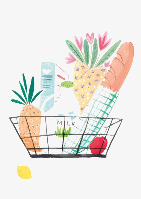 Bread clipart watercolor. Shopping basket supermarket png