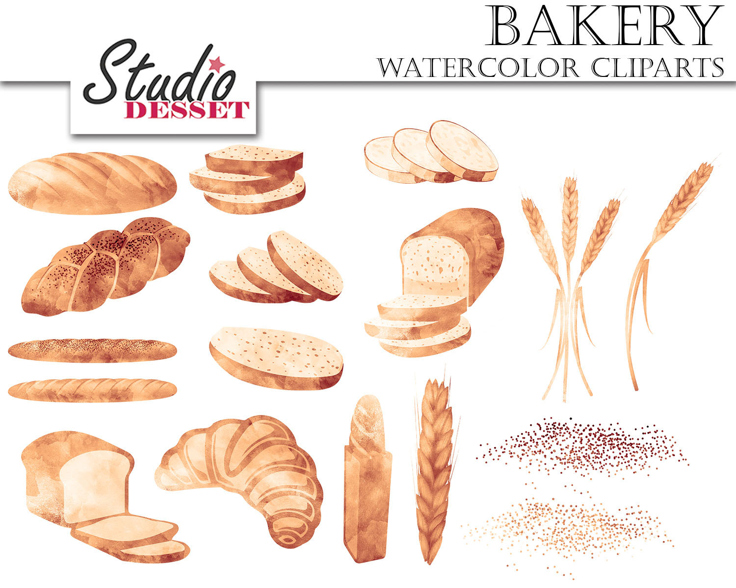 Bread clipart watercolor. Cliparts bakery graphics wheat