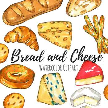 And cheese food . Bread clipart watercolor
