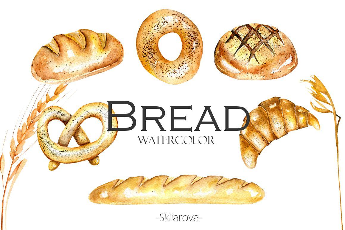 Bread clipart watercolor. By happywaterc design bundles