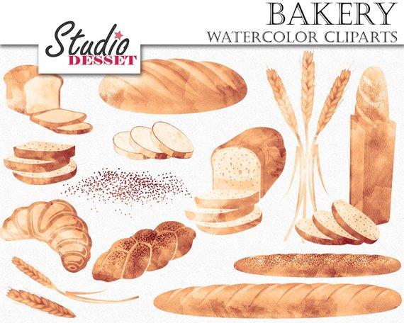 Cliparts watercolor bakery graphics. Bread clipart wheat bread