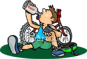 Break clipart. Cyclist taking a to