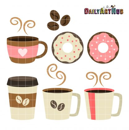 Break clipart coffee break. Clip art set daily