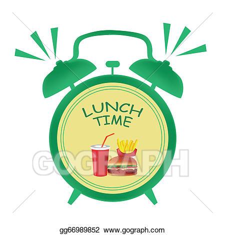 Break clipart lunch hour. Vector time clock illustration