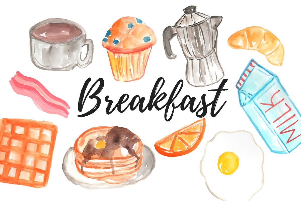 Breakfast clipart. Watercolor food