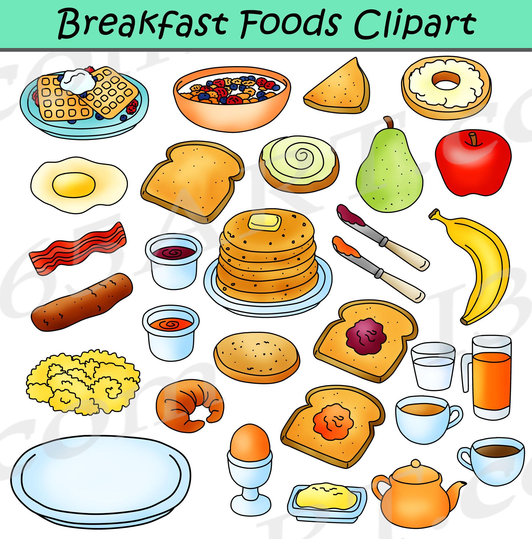 Foods bundle graphics . Cereal clipart school breakfast