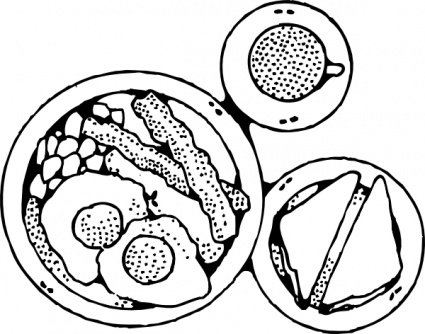 Breakfast clipart black and white. Free vector graphics me