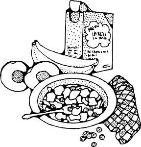 Breakfast . Cereal clipart black and white