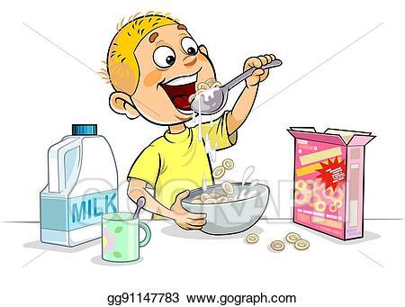 Stock illustration having drawing. Breakfast clipart boy