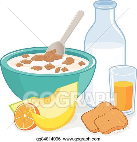 Cereal clipart cereal milk. Clip art vector breakfast