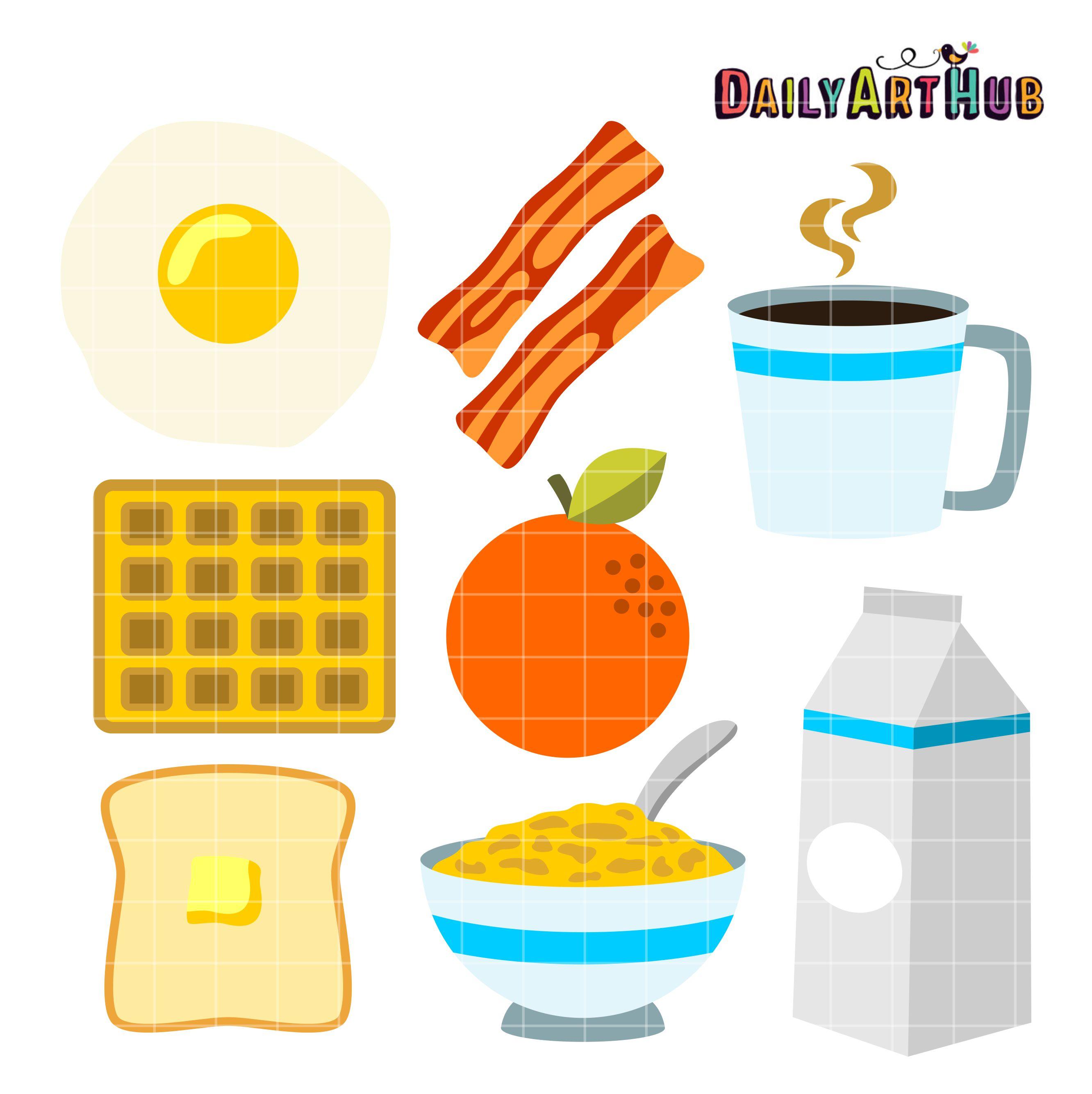 Foods clip art set. Breakfast clipart breakfast food