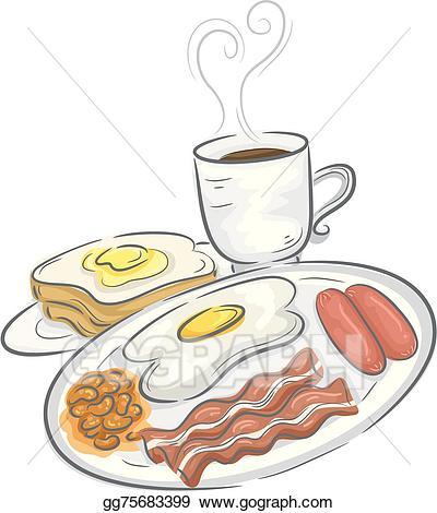 Vector art drawing gg. Breakfast clipart breakfast meal