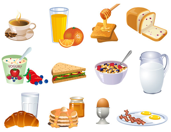 3 clipart item. Breakfast items