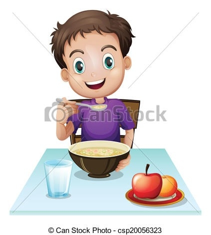 Breakfast clipart breakfast table. Illustration of a boy