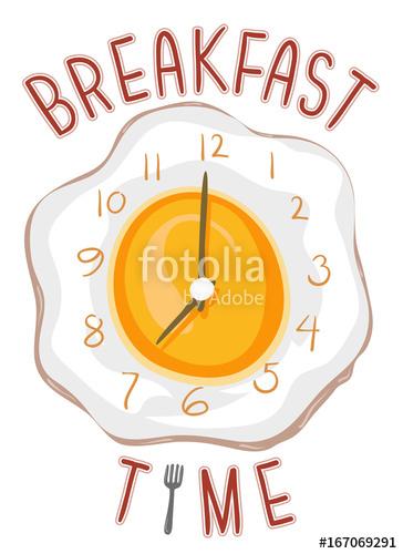 Breakfast clipart breakfast time. Clock lettering stock image
