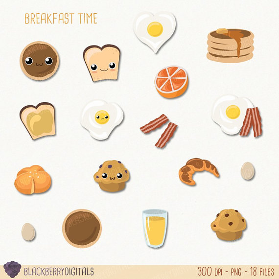 Breakfast clipart cute. Set clip art food