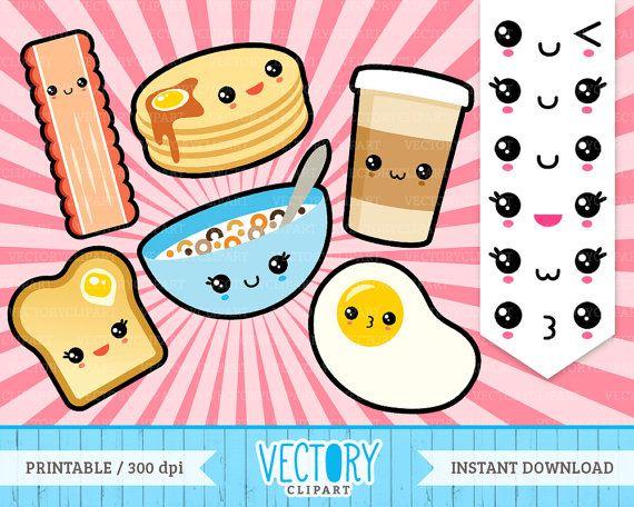 kawaii emoticons hey. Breakfast clipart cute