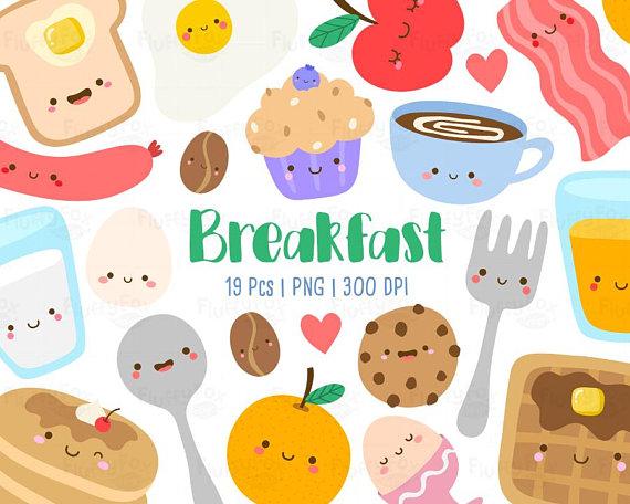 Breakfast clipart cute. Kawaii food drink cartoon