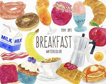 Clip art etsy watercolor. Breakfast clipart dessert