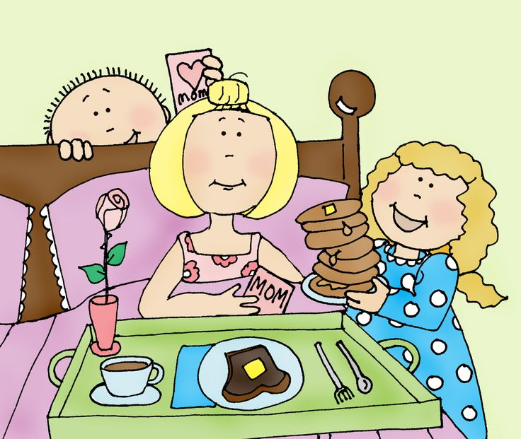 Breakfast clipart family. In bed cd af