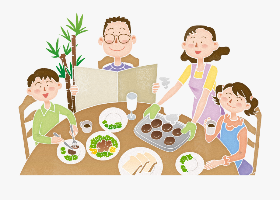 Dinner clipart cartoon. With family breakfast png