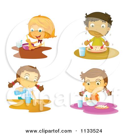 Black family eating cartoon. Breakfast clipart kid
