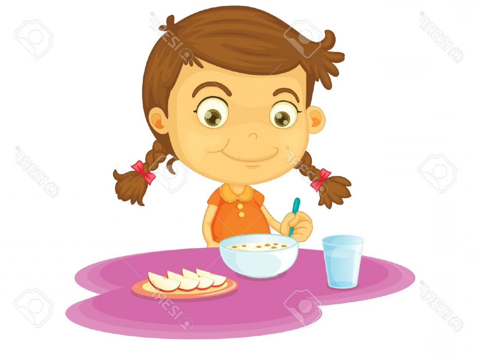 Breakfast clipart kid. Child eating