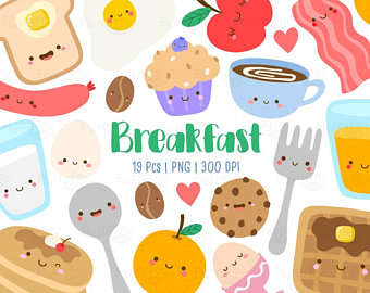Brunch clipart cartoon. Breakfast etsy kawaii cute