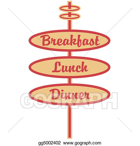 Dinner clipart retro. Eps illustration breakfast lunch