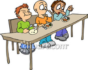 Students eating . Breakfast clipart student