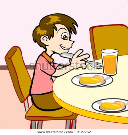Breakfast clipart student. Boy eating