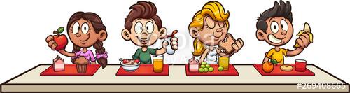 Breakfast clipart student. Cartoon kids eating at