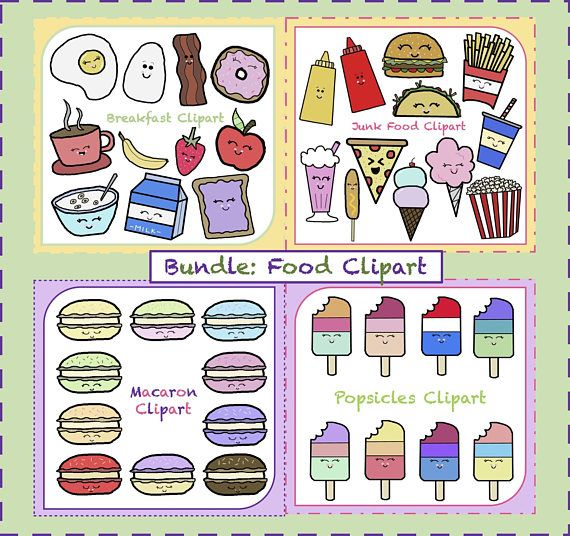 Breakfast clipart teacher. Bundle food junk fast