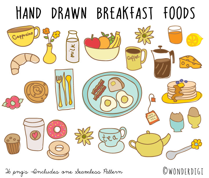 Hand drawn doodles clip. Breakfast clipart text