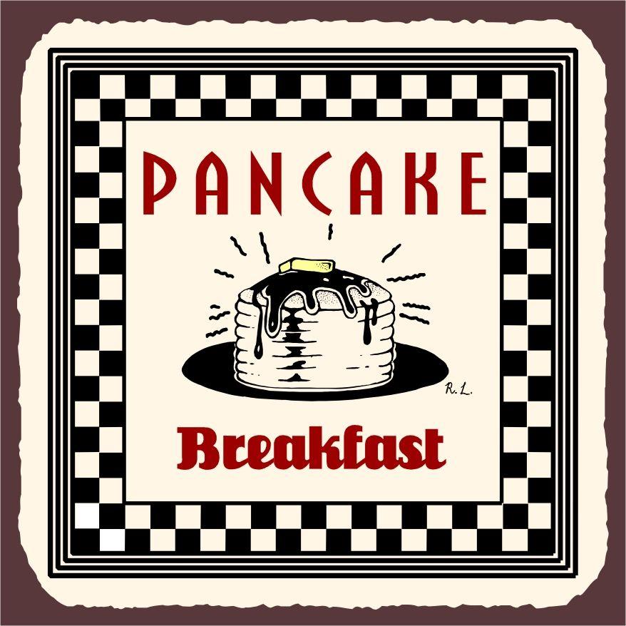 Pancake metal art retro. Breakfast clipart vintage