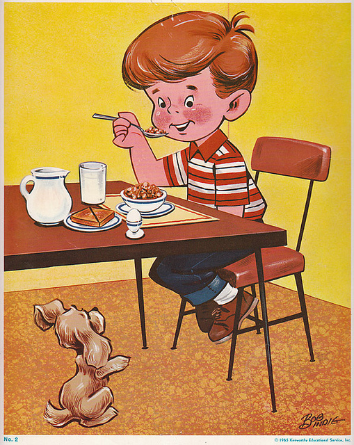 Breakfast clipart vintage. Classroom poster boy eating