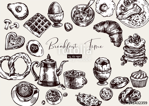 Vector objects food top. Breakfast clipart vintage
