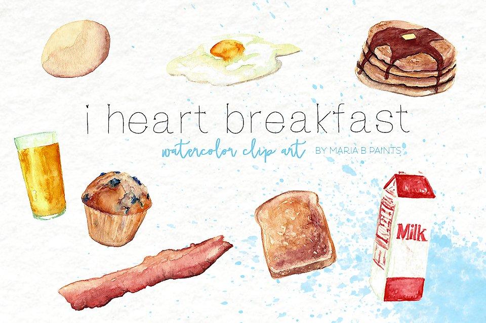 Breakfast clipart watercolor. Clip art food illustrations