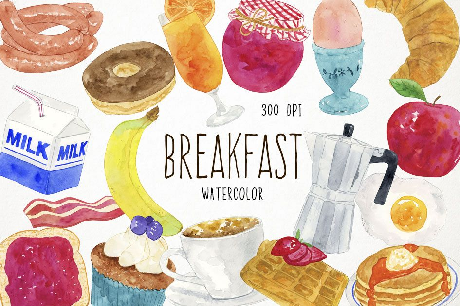 Bakery graphic . Breakfast clipart watercolor