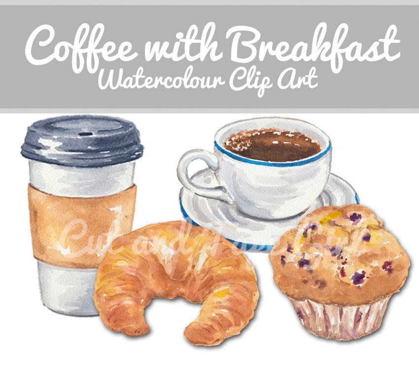 Coffee clip art digital. Breakfast clipart watercolor