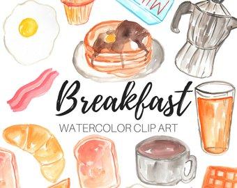 Clip art etsy food. Breakfast clipart watercolor