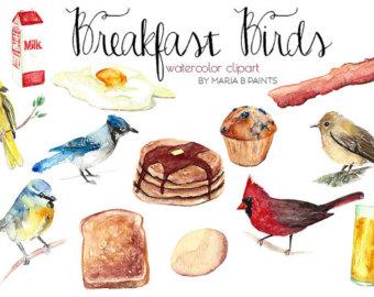 Breakfast clipart watercolor. Etsy clip art early